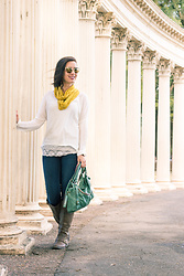 Lindsey Puls - Eleanora Grace Sweater, Amazon Boots, Modcloth Scarf, Quay Sunglasses - Windy Weather Wear