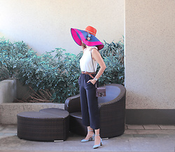 Mayo Wo - Sophie Anderson Pompom Hat, Ted Baker Bow Jumpsuit, Kleks Mini Bag, Valentino Tango Pumps - Hybrid of vacation & work styles