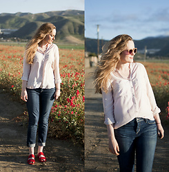 Emily S. - Bajee Button Down, Joe's Jeans, Sam Edelman Sandals, Urban Outfitters Sunglasses - By the Flower Fields
