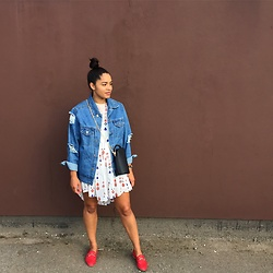 Lauren Francine Campbell - Office Red Loafers, Zara Dress, Missyempire Distressed Denim Jacket, Kokocouture Bag - OOTD - Summer Dress