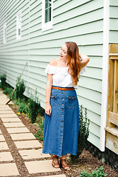 Cadyn Scott -  - Vintage Denim Midi Skirt