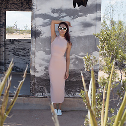 Tienlyn . - Body Con Turtleneck Maxi Dress, Another Sole Sneakers, Prada Sunglasses - ACCLIMATE