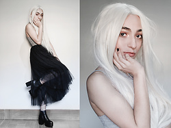 Debbie Menezes - Dresslily Front Lace Wig, Gamiss Tulle Gown Midi Skirt, Banggood.Com Plataform Boots - Minimalist Witch