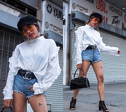Eda Semana - Avec Les Filles Ruffled Sleeve Top, H&M Denim Shorts, Forever 21 Baker Boy Hat, Call It Spring Miriradia Caged Heels - Ruffled Sleeve Top and Denim Shorts