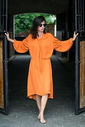 URBAN CREATIVI-TEA - Thom Browne Sunglasses, Balenciaga Dress - Fresh Squeezed Orange Dress / urbancreativi-tea