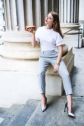 Julia - H&M Top, Zara Pants, Zara Heels, Michael Kors Watch - Hot dog kinda day