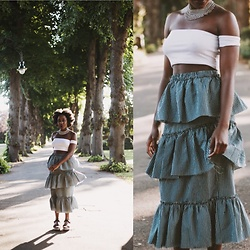 Enny Odeniyi - Urban Outfitters Layered Gingham Skirt, Bershka Off Shoulder White Crop Top, Urban Outfitters Layered Choker, Bershka Platform Sandals - Waffles or Pancakes