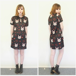 Rachel-Marie - Romwe Cat Print Random Button Front Dress, Unbranded Tattoo Choker, Unbranded Black Lace Up Martin Boots - Love Cats