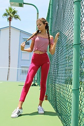 Sky - Adidas, Adidas Red Leggings, Brandy Melville Usa Striped Off The Shoulder, Gold Choker - Spunky & Sporty