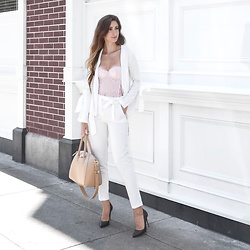 Tia Mcintosh - Victoria's Secret Blush Pink Bodysuit, Missguided White Tailored Pants, Missguided White Tie Blazer, Black Heels, Givenchy Bag - Sheer pink