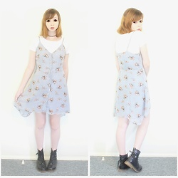 Rachel-Marie - Romwe Floral Print Single Breasted Cami Dress, Find Similar Here Basic White T Shirt, Unbranded Tattoo Choker, Unbranded Black Lace Up Martin Boots - Cami Up, Darling