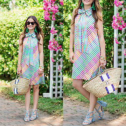 Jenn Lake - J. Crew Rainbow Gingham Dress, Lindroth Design Monogram Tote, Sole Society Jenina Sandals, Julie Vos Byzantine Cuffs, Kate Spade Pretty Poms Fringe Earrings, Celine Marta Sunglasses - J Crew Rainbow Gingham Dress