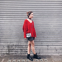 Bruna Morale - Bershka Jumper, Zara Boots - Red jumper affair