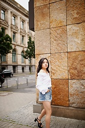 Ellen Lee - Zara White Shirt, Zara Denim Shorts - Not your classic white button down