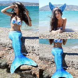 Marina Mavromati - Gamiss Blue Mermaid Tail Bikini Set - Aqua-Marina