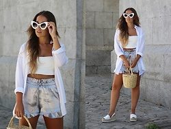 Claudia Villanueva - Zerouv Sunglasses, Stradivarius Shirt, Zara Top, Mango Shorts, Local Market Basket, Au Revoir Cinderella Shoes - How to wear metallics in summer