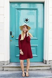 Daphne G - H&M Burgundy Dress, Aldo Shoes, H&M Hat - I have this thing with doors