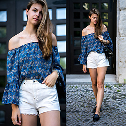 Jacky - Gucci Bag, Marks & Spencer Shoes -  Blue Off-Shoulder Shirt and White Shorts