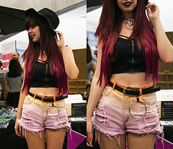 Verónica MG - Custom Shorts Ombre Denim - Pastel witch