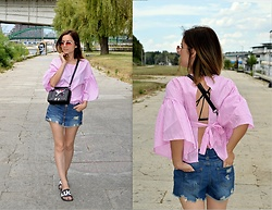 Marija M. - Shein Pink Striped Top, New Yorker Denim Skirt, Rosegal Embroidered Cross Body Bag - Pink stripes and bell sleeves