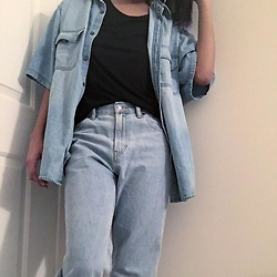Kat Smith - Gap Black Tee, Thrifted Denim Button Down Shirt, Gap The Archive Re Issue Reverse Fit Jeans - Canadian Tuxedo