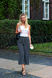 Ecaterina Rusu - H&M Culottes, Asos Sandals - CREAM LACE TOP & STRIPED CULOTTES