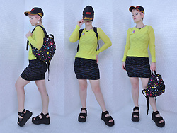 Suzi West - Garage Sale Awesome Grandpa Baseball Cap, Shantel Niblock Bat Necklace, Mossimo Long Sleeve Top, Forever 21 Bodycon Skirt, Dickie's Mini Backpack, Rocket Dog Platform Sandals - 12 April 2017