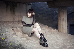 Amy Souter - Boohoo Khaki Mesh Dress, Boohoo Fishnets, Roseg Embroidered Creepers - In Bloom