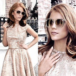 Kathryn O'Brien - Saretta Sunglasses, Saretta Gold Top, Saretta Gold Skirt - Foiled Gold Separates