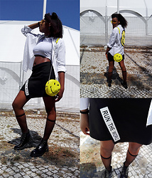 Yara Snow'z - Pull & Bear Black Leather Boots, New Yorker Black Skirt, Pull & Bear Yellow Smiley Bag, Zara White Shirt, New Yorker White Top, Forever 21 Yellow Sunglass - Run the World