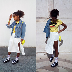 Yara Snow'z - Fore White Skirt, Pull & Bear White Socks, Pull & Bear Black Plataforms - Denim&Yellow
