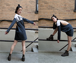 Gi Shieh - Topshop Unknown Backless Long Sleeve Top, Doc Martens Grey Ankle Boots, Cyclical Industry 3d Triangle Wire Earrings, H&M Black Chain Choker - Street Chill