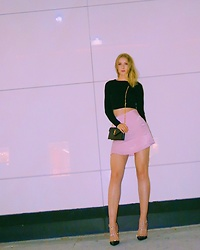 Katie Van Daalen Wetters - Forever 21 Black Sweater, Saint Laurent Ysl Woc, Tobi Pink Satin Skirt, Valentino Rockstud Pumps - Barbie