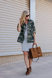 Meagan Brandon - Camo Jacket On Sale, Maternity Dress Under $20!, Suede Booties On Sale - Layering with a Camo Shirt Jacket