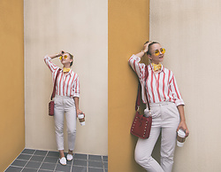Olga Choi - Styled Moscow Stripe Shirt, Styled Moscow Yellow Sunglasses, Styled Moscow Yellow Scarf, Rebecca Minkoff Bag, Soludos Mules Espadrilles - THEY CALL ME MELLOW YELLOW