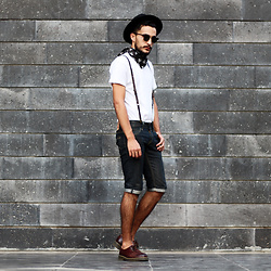 Mohamed Samaras - Zara Hat, Ray Ban Clubmaster, Zara Bandana, Zara Suspenders, A.P.C. T Shirt, Levi's® Short, Dr. Martens Shoes - Quick and the Dead