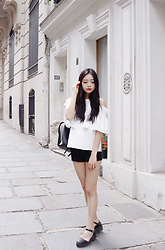 Rachel T - Zara Black Faux Leather Backpack, White Cold Shoulder Ruffled Top, Subdued Black Dress Shorts, Asos Black Flatforms - When in paris ♡
