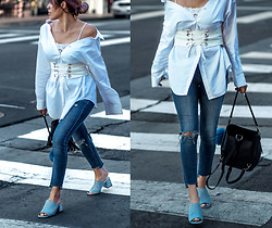 Francesca Felix - Jeffrey Campbell Mules, 7 For All Mankind Ripped Straight Jeans, Zara Corset Belt - Not so basic white