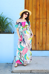Carly Maddox - Pinkblush Tropical Colorful Palm Print Maxi - One Last Tropical Look