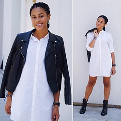Taylor Brown - Boohoo Black Leather Jacket, Zara White Button Down Dress, Zara Black Combat Boots, Vintage Earrings - OOTD 08.01