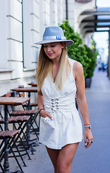 The Blonde Bliss - Zara Jumpsuit, Cluse Watch, The Blonde Bliss Hat - Baby blue hat and jumpsuit