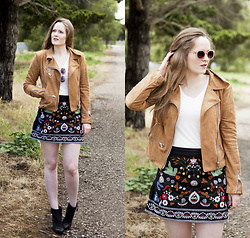 Emily S. - Zara Embroidered Skirt, Bp Ankle Boots, Lulu's Moto Jacket, Urban Outfitters Sunglasses, Levi's Tee - High Summer