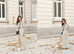 Besugarandspice FV - Givenchy Bag, Converse Sneakers, Uterqüe Dress - Polka Dots Maxi Dress