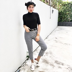 Morodok Keo - Gucci Sneaker, H&M Gingham Pants, Mrd Cambodia Turtle Neck Top - Gingham Addict