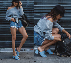 Francesca Felix - One Teaspoon High Waist Denim Shorts, Jeffrey Campbell Shoes Blue Mules, Brixton Black Fisherman Cap - Downtown girl