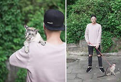 Naglis Bierancas - H&M Dusty Pink Sweater, Zara Ripped Jeans, Nike Sneakers, Supreme Fullcap - Tiger