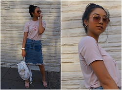 Mai Sunshine - Scapes Ny T Shirt, Missguided Denim Skirt, H&M Suede Mules - Irrevocably Me