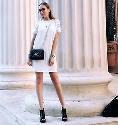Karina Bogdan - Zara Dress, Furla Glasses, Moschino Bag, Michael Kors Watch, Pandora Bracelet, Accessorize Anklet, Bagatti Sandals - Little White Dress