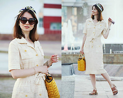Arina V. - Mango Sunglasses, Lost Ink Sandals - Vintage dress