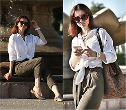Arina V. - H&M Pants, Zara Shirt, Swatch Watches, Mango Sunglasses - Linen shirt and high-waist pants are my fav